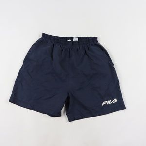 90s Fila Mens Large Spell Out Athletic Shorts Blue